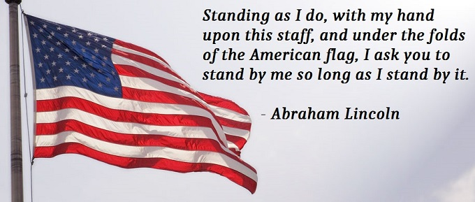 lincoln quote on american flag